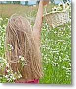 Wild Daisy Field Metal Print by Maria Dryfhout