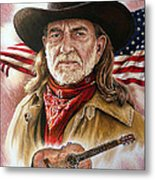 Willie Nelson American Legend Metal Print by Andrew Read
