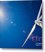 Wind Turbine And Sun  Metal Print by Johan Swanepoel