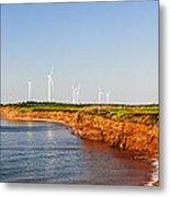 Wind Turbines On Atlantic Coast Metal Print by Elena Elisseeva