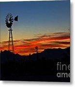 Windmill Silhouette Metal Print by Robert Bales