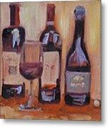 Wine Bottle Trio Metal Print by Donna Tuten