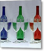 Wine Bottles And Glasses Illusion Metal Print by Jack Schultz