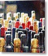 Wine Bottles Painting Metal Print by Magomed Magomedagaev