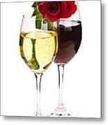 Wine With Red Rose Metal Print by Elena Elisseeva