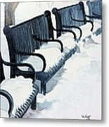 Winter Benches Metal Print by Tom Riggs