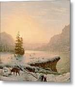 Winter Landscape Metal Print by Mortimer L Smith