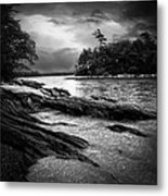 Winter Moonlight Wolfes Neck Woods Maine Metal Print by Bob Orsillo