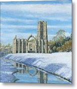 Winter Morning Fountains Abbey Yorkshire Metal Print by Richard Harpum