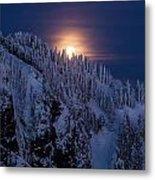 Winter Mountain Moonrise Metal Print by Mike Reid