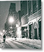 Winter Night - New York City - Lower East Side Metal Print by Vivienne Gucwa