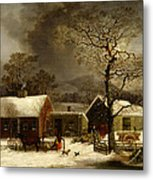 Winter Scene In New Haven Connecticut 1858 By Durrie Metal Print by Movie Poster Prints