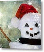 Winter Snowman Metal Print by Cindy Singleton