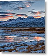 Winter Sunset Reflection Metal Print by Cat Connor