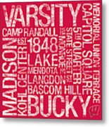 Wisconsin College Colors Subway Art Metal Print by Replay Photos