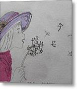 Wish Upon A Dandelion In Colour Metal Print by Jennifer Schwab