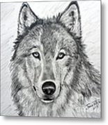 Wolf Metal Print by Julie Brugh Riffey