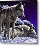 Wolf Painting - Night Watch Metal Print by Crista Forest