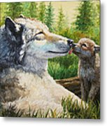 Wolf Painting - Spring Kisses Metal Print by Crista Forest