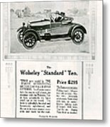 Wolseley 1923 1920s Usa Cc Cars Metal Print by The Advertising Archives