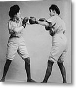 Woman Boxing Metal Print by Digital Reproductions