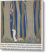 Woman Followed By A Leopard Metal Print by Georges Barbier