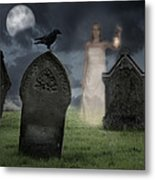 Woman Haunting Cemetery Metal Print by Amanda And Christopher Elwell