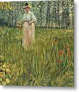 Woman In A Garden Metal Print by Vincent van Gogh
