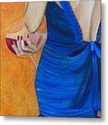 Woman In Blue Metal Print by Debi Starr