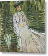 Woman Seated On A Bench Metal Print by Claude Monet