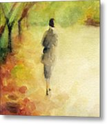 Woman Walking Autumn Landscape Watercolor Painting Metal Print by Beverly Brown Prints