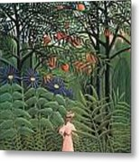 Woman Walking In An Exotic Forest Metal Print by Henri Rousseau