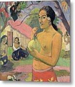 Woman With Mango Metal Print by Paul Gauguin