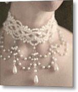 Woman With Pearl Choker Necklace Metal Print by Lee Avison