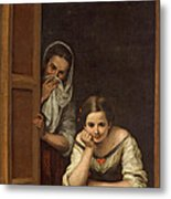 Women From Galicia At The Window Metal Print by Bartolome Esteban Murillo