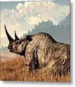 Woolly Rhino And A Marmot Metal Print by Daniel Eskridge