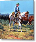 Working Cowgirl Metal Print by Randy Follis