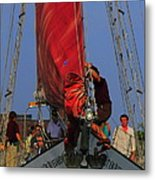 Working The Sails Metal Print by Kathleen Struckle