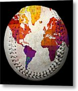 World Map - Rainbow Bliss Baseball Square Metal Print by Andee Design