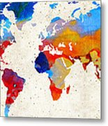 World Map 18 - Colorful Art By Sharon Cummings Metal Print by Sharon Cummings