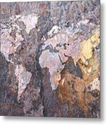 World Map On Stone Background Metal Print by Michael Tompsett