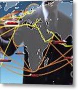 World Shipping Routes Map Metal Print by Atiketta Sangasaeng