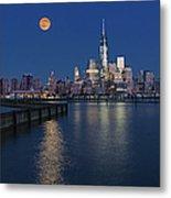 World Trade Center Super Moon Metal Print by Susan Candelario