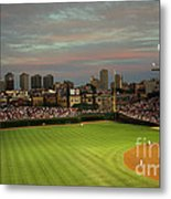 Wrigley Field At Dusk Metal Print by John Gaffen