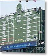 Wrigley Field Scoreboard Sign Metal Print by Paul Velgos
