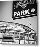 Wrigleyville Sign And Wrigley Field In Black And White Metal Print by Paul Velgos
