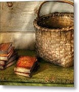 Writer - A Basket And Some Books Metal Print by Mike Savad