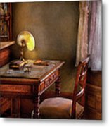 Writer - Desk Of An Inventor Metal Print by Mike Savad