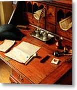 Writer - The Desk Of A Gentleman  Metal Print by Mike Savad