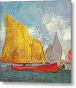 Yachts In A Bay Metal Print by Odilon Redon